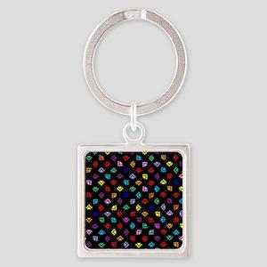 PawPrintRBblackFlipFlops-a Square Keychain