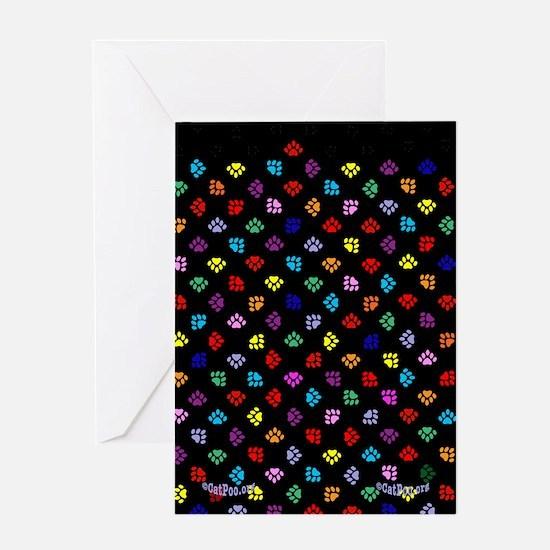 PawPrintRBblackFlipFlops-a Greeting Card