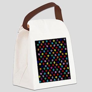 PawPrintRBblackFlipFlops-a Canvas Lunch Bag