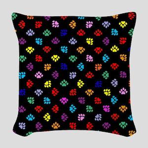 PawPrintRBblackFlipFlops-a Woven Throw Pillow