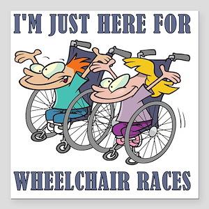 "wheelchair races Square Car Magnet 3"" x 3"""