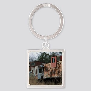 Two Cabooses Square Keychain
