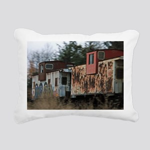 Two Cabooses Rectangular Canvas Pillow