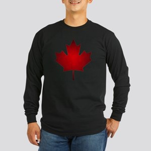 Maple Leaf Grunge Long Sleeve Dark T-Shirt