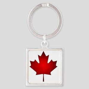 Maple Leaf Grunge Square Keychain