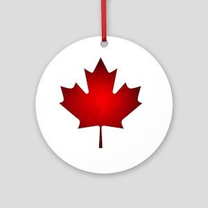 Maple Leaf Grunge Round Ornament