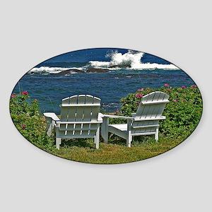 Surfside Oceanfront View Sticker (Oval)