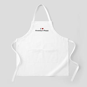 I Love Grammy & Pappy BBQ Apron