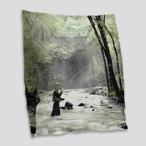 Fly Fisherman in Misty Stream Burlap Throw Pillow