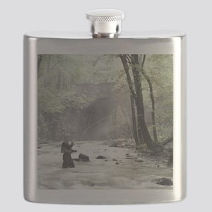 Fly Fisherman in Misty Stream Flask