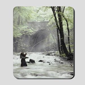 Fly Fisherman in Misty Stream Mousepad