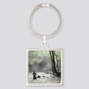 Fly Fisherman in Misty Stream Square Keychain