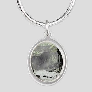 Fly Fisherman in Misty Stream Silver Oval Necklace
