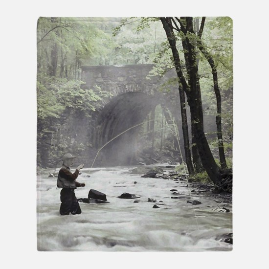 Fly Fisherman in Misty Stream Throw Blanket