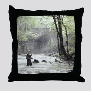 Fly Fisherman in Misty Stream Throw Pillow