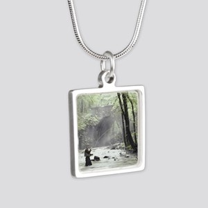 Fly Fisherman in Misty Str Silver Square Necklace