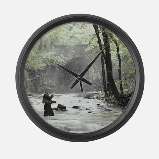 Fly Fisherman in Misty Stream Large Wall Clock