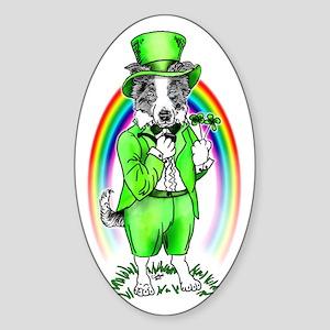 Border Collie Leprechaun Oval Sticker