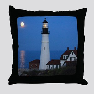 Super Moons Lighthouse View Throw Pillow