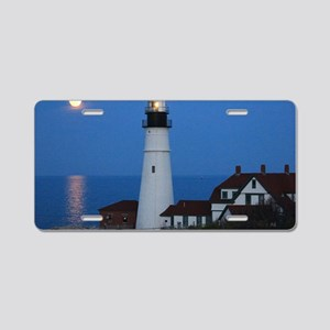 Super Moons Lighthouse View Aluminum License Plate