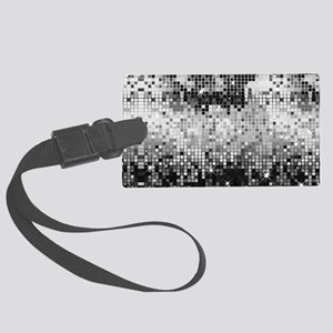 Disco Mirrors in Black and White Large Luggage Tag