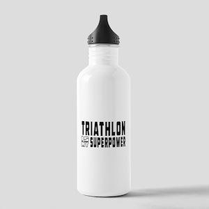 Triathlon Is My Superpower Stainless Water Bottle