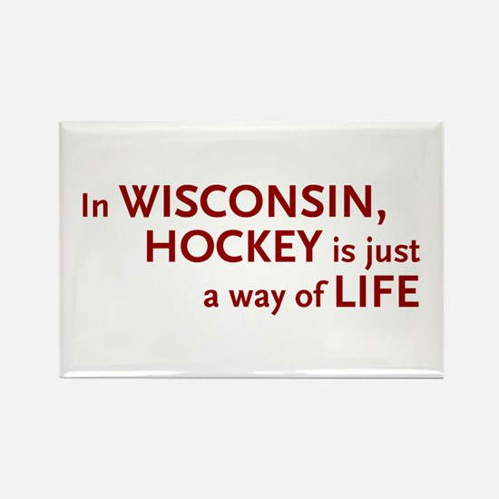 Wisconsin Hockey Rectangle Magnet