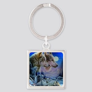 Wolf Family Square Keychain