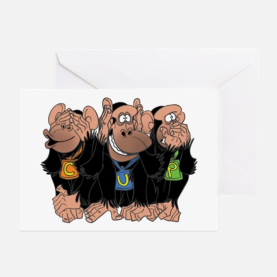 The Three Chimps Greeting Cards (Pk of 10)