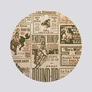 Vintage Rodeo Round-Up Round Ornament