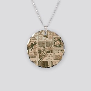 Vintage Rodeo Round-Up Necklace Circle Charm