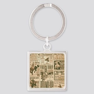Vintage Rodeo Round-Up Square Keychain