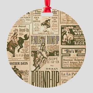 Vintage Rodeo Round-Up Round Ornament