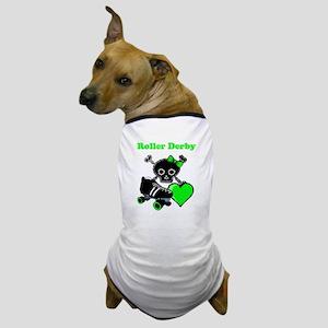 Roller Derby Heart (Green) Dog T-Shirt