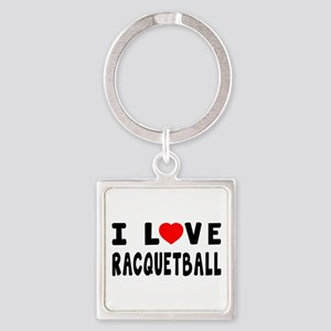 I Love Recquetball Square Keychain