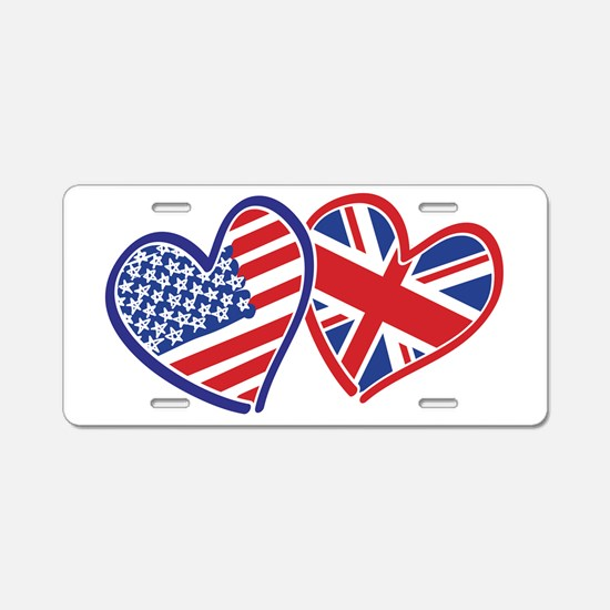 USA and UK Flag Hearts Aluminum License Plate
