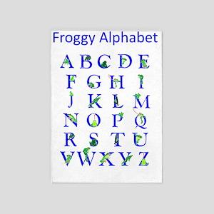 Froggy Alphabet 5'x7'Area Rug