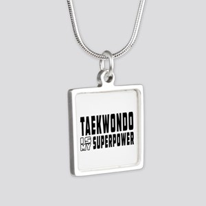 Taekwondo Is My Superpower Silver Square Necklace