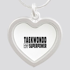 Taekwondo Is My Superpower Silver Heart Necklace