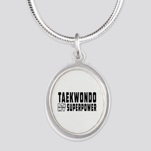 Taekwondo Is My Superpower Silver Oval Necklace