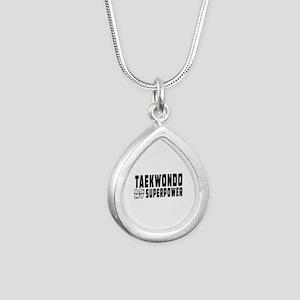 Taekwondo Is My Superpower Silver Teardrop Necklac