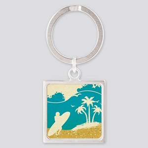 Surfer at the Beach Square Keychain