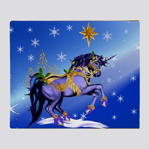 Yard Sign Bright Christmas Unicorn Throw Blanket