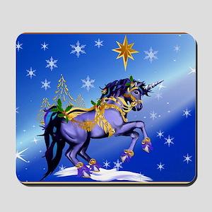 Yard Sign Bright Christmas Unicorn Mousepad
