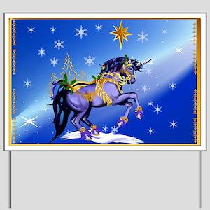 bright christmas unicorn Yard Sign