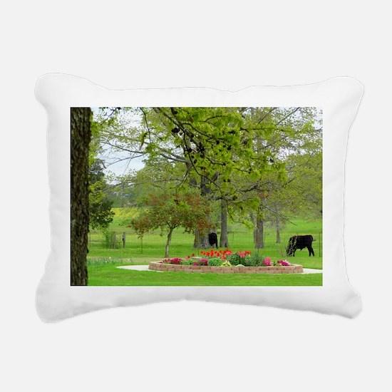 Calves grazing beside tu Rectangular Canvas Pillow