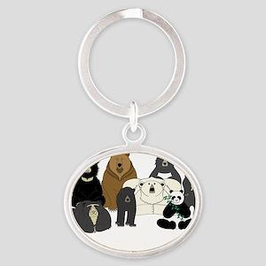 Bear Group Oval Keychain