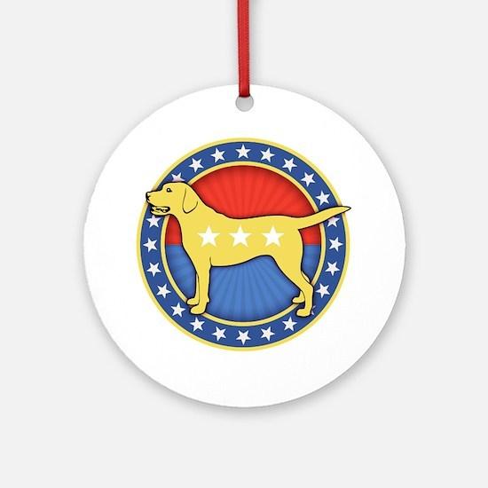 yellow-dog-T Round Ornament