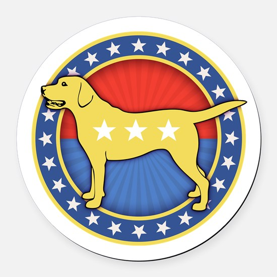 yellow-dog-T Round Car Magnet