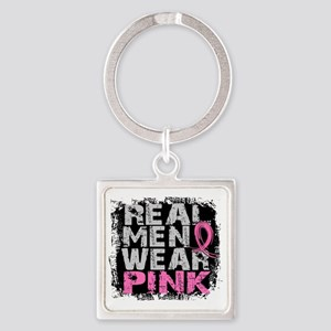 - Real Men Wear Pink Breast Cancer Square Keychain